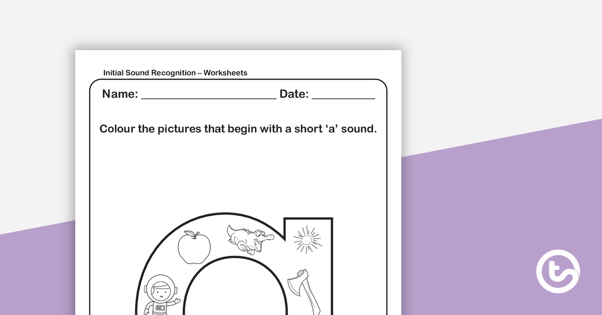 Initial Sound Recognition Worksheet Lower Case Letter A Teaching Resource Teach Starter