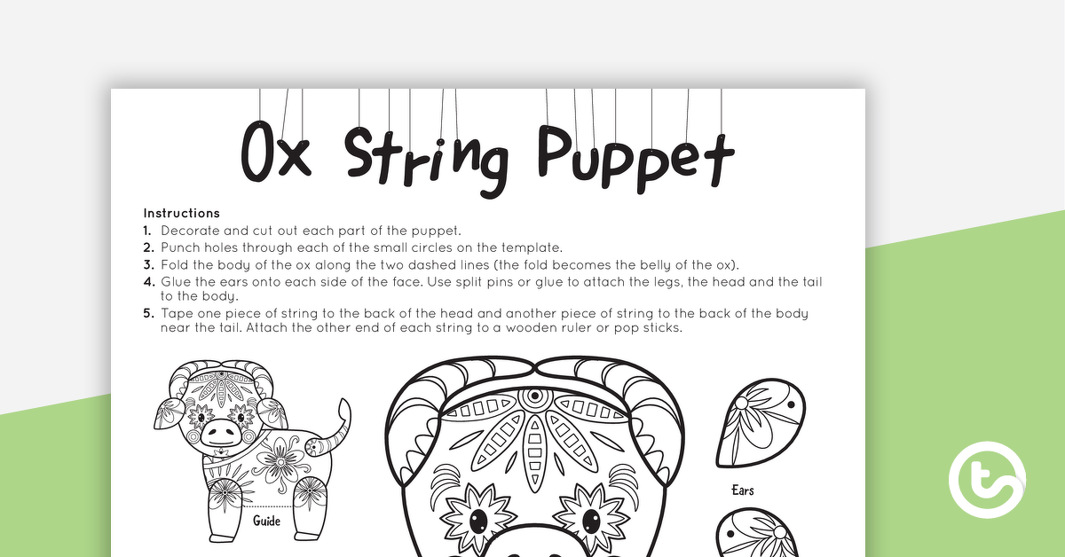 Year of the Ox – String Puppet Craft Template