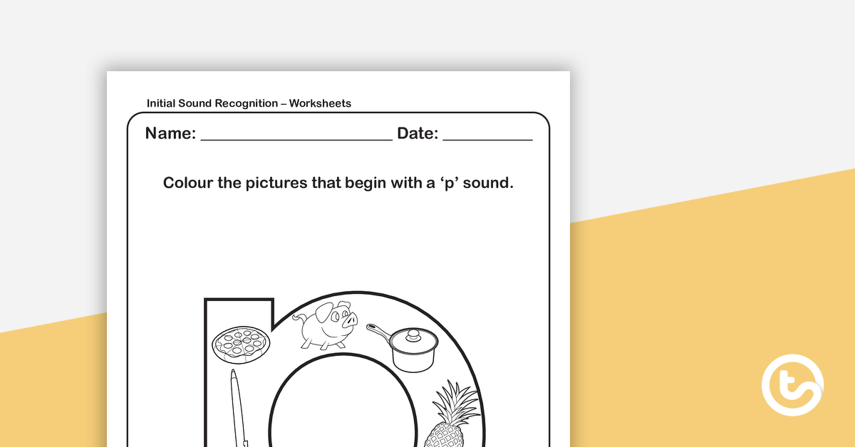 Initial Sound Recognition Worksheet Lower Case Letter P Teaching Resource Teach Starter